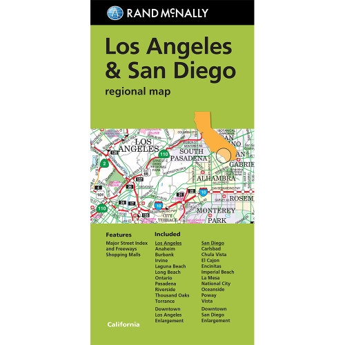 Folded Map: Los Angeles & San Diego Regional Map