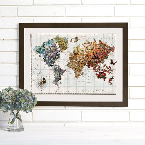 """Butterfly Migration"" Lithograph Wall Map"