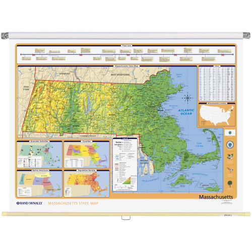 Education Store PullDown Map Sets Page Rand McNally Store - Massachusetts physical map