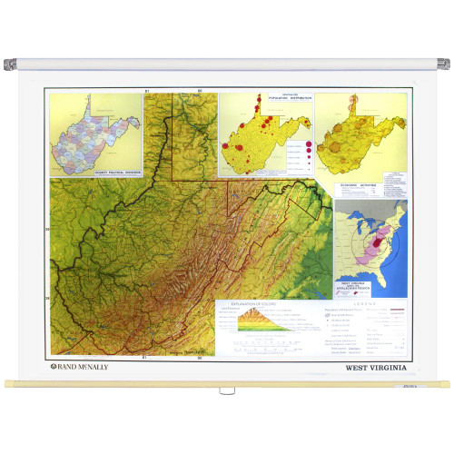 Illinois PhysicalPolitical State Wall Map Rand McNally Store - Virginia physical map