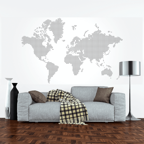 Dotted World Map Wall Mural Part 82