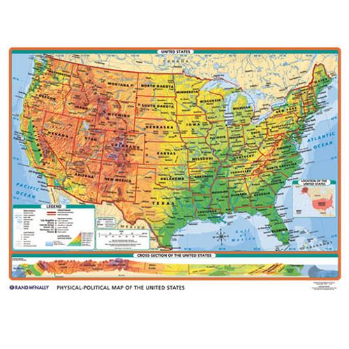 World US Intermediate PhysicalPolitical 3Wall Map Combo