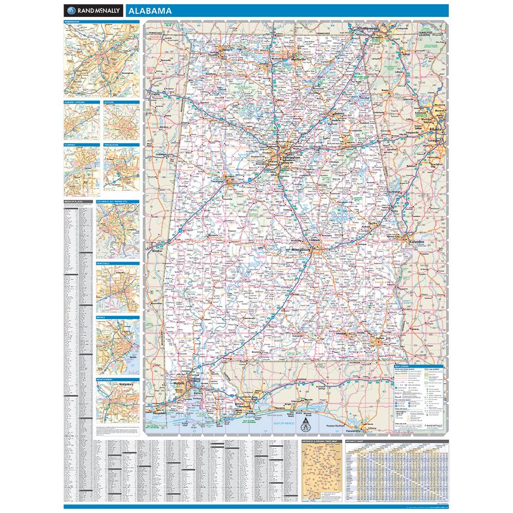 Rand McNally Alabama State Wall Map - Alabama state map