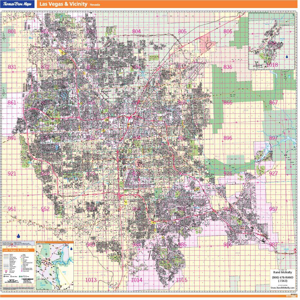 Thomas Bros Las Vegas Wall Map - Las vegas street map
