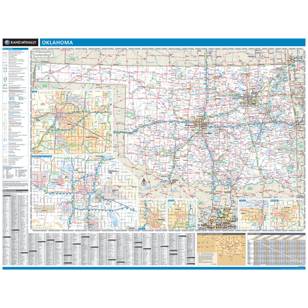 Rand McNally Oklahoma State Wall Map - Map of the state of oklahoma