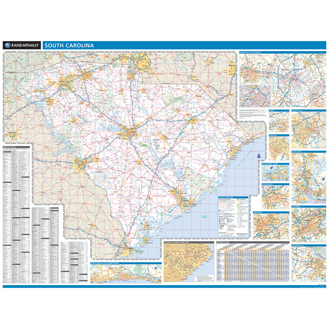 Rand McNally South Carolina State Wall Map - Map to south carolina
