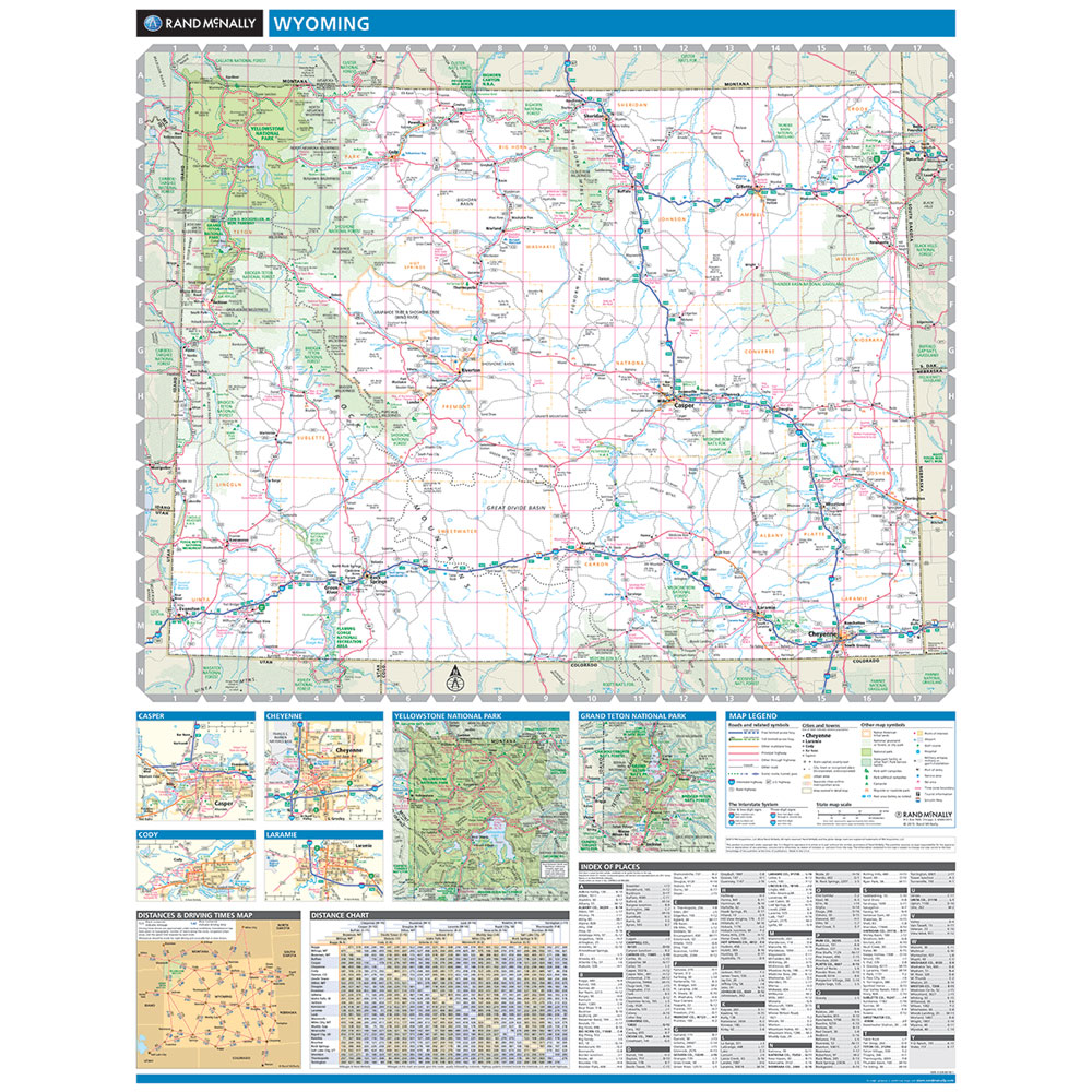 Rand McNally Wyoming State Wall Map - Wyoming map