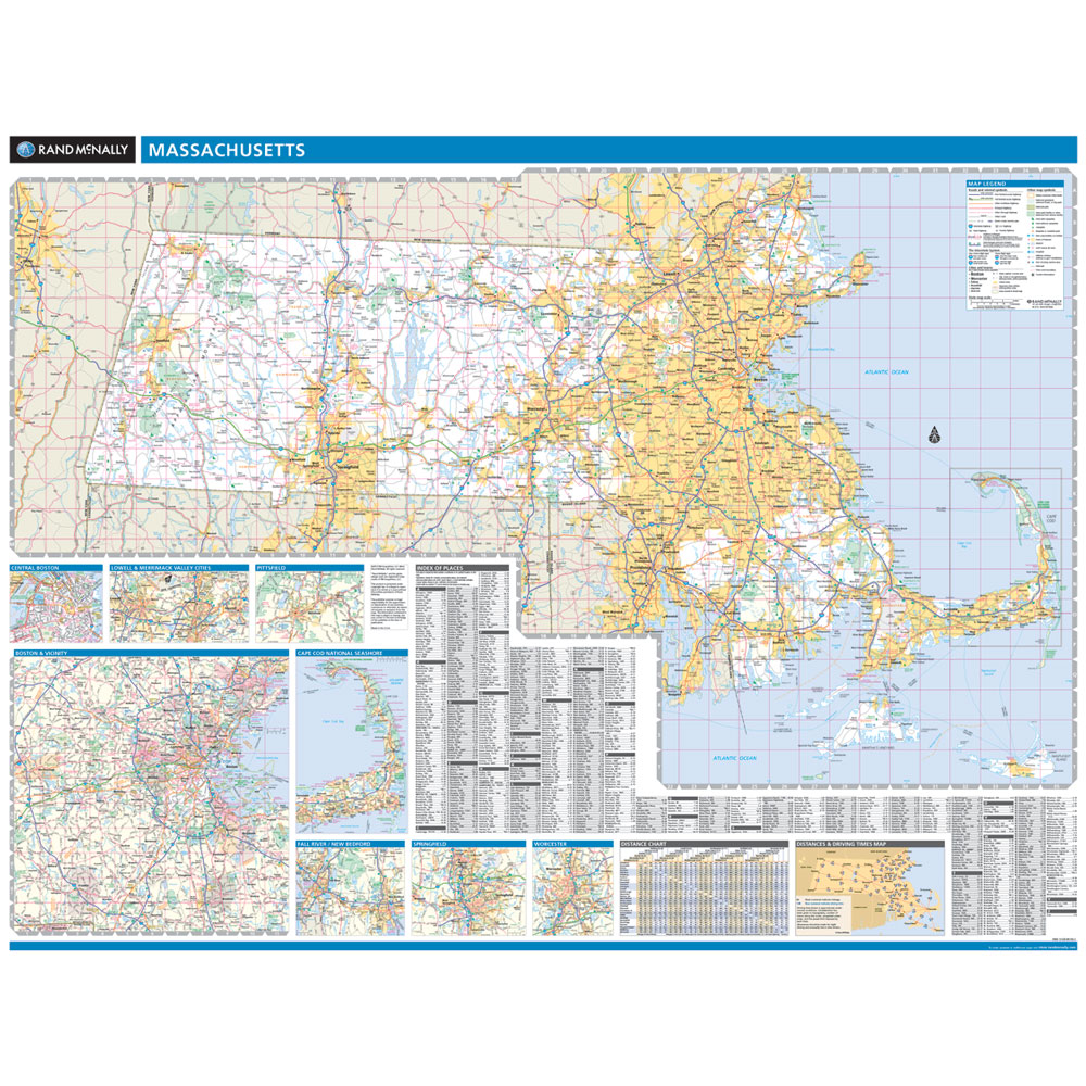 Rand McNally Massachusetts State Wall Map - Map massachusetts