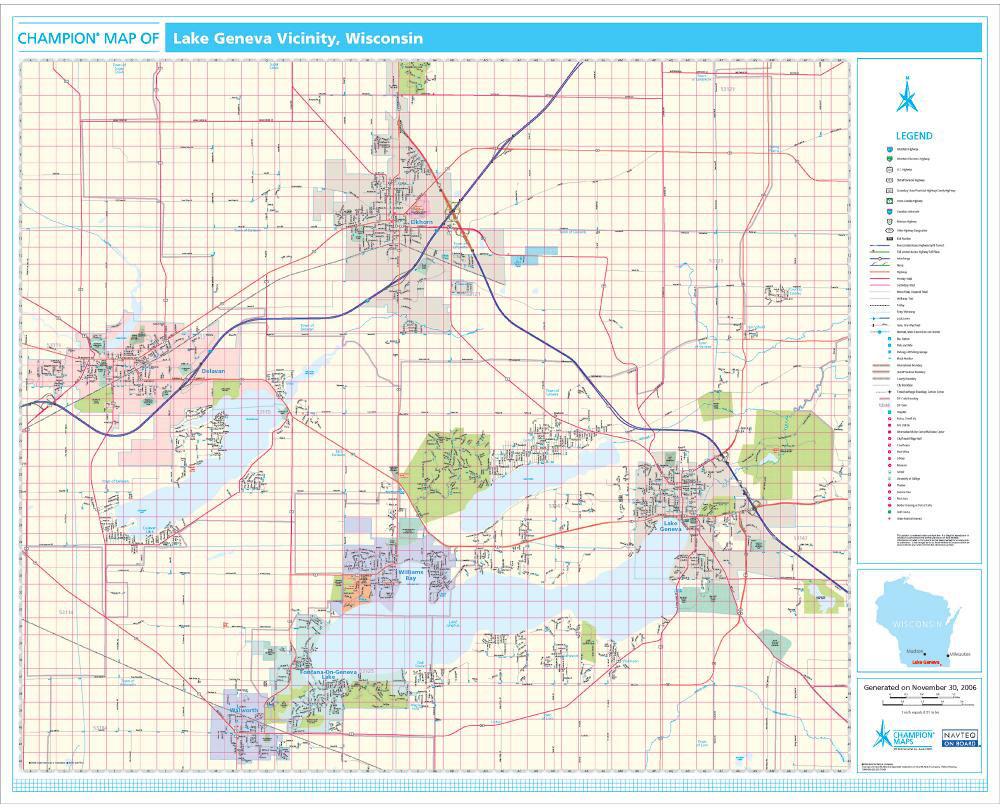 Champion Lake Geneva Wall Map - Map wisconson
