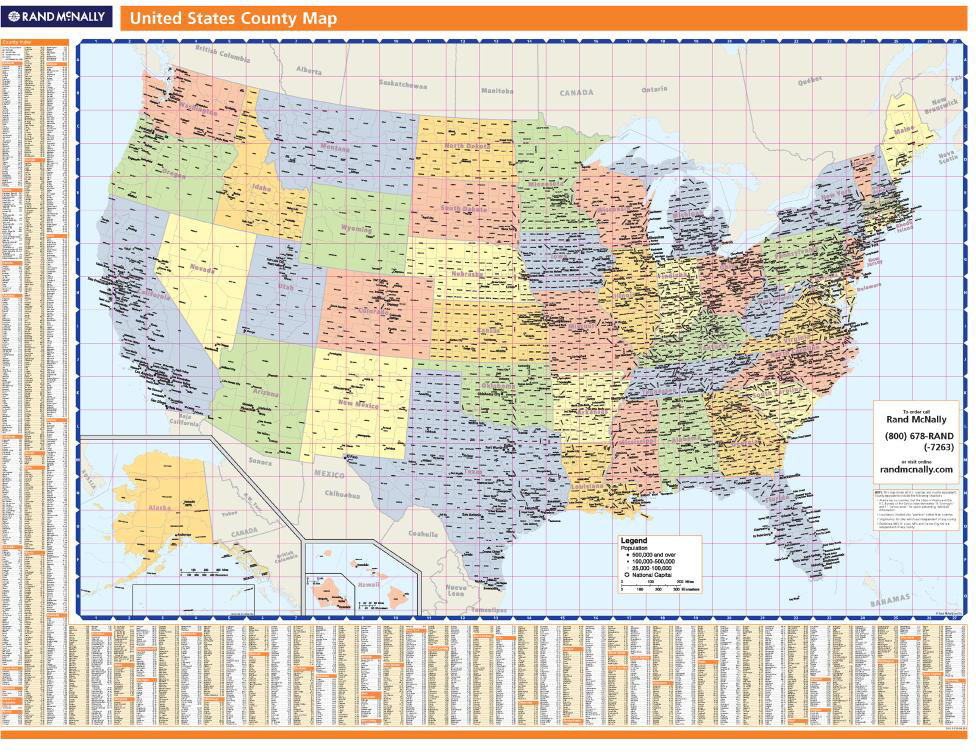Rand Mcnally United States County Wall Map