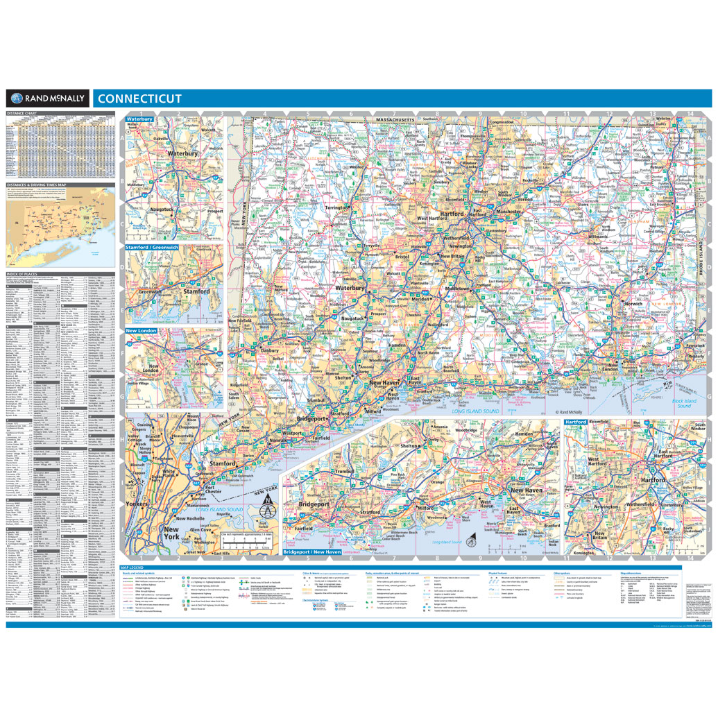 Rand McNally Connecticut State Wall Map - Map connecticut