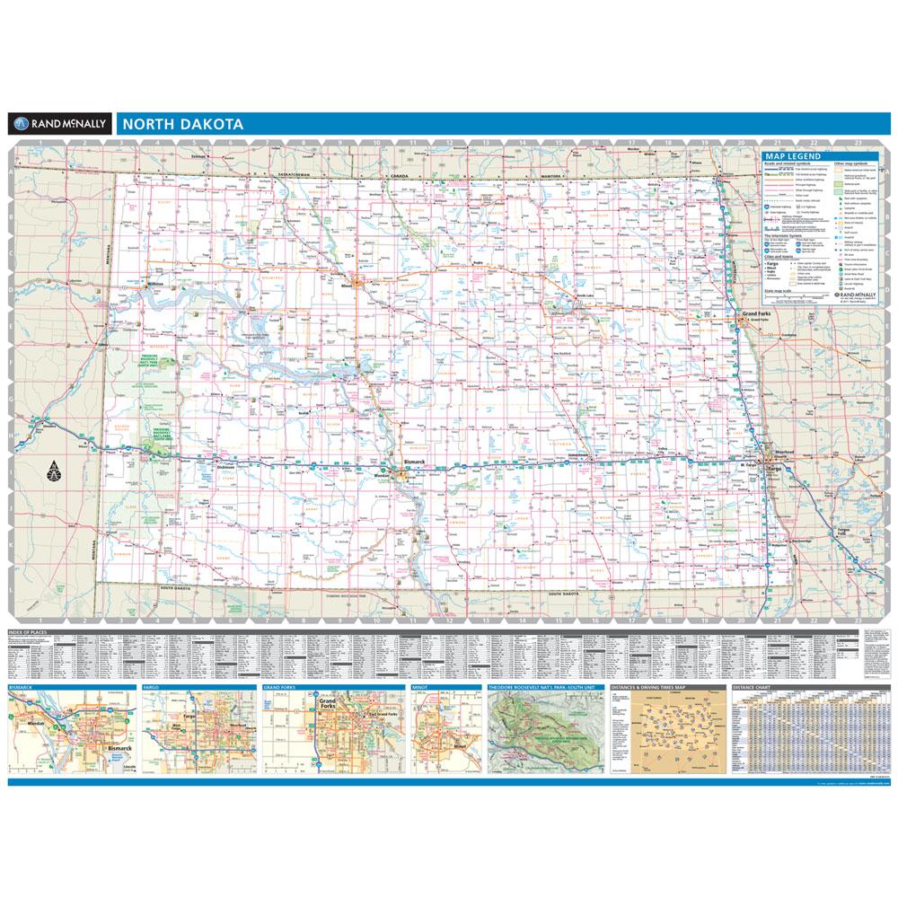 Rand McNally North Dakota State Wall Map - North dakota state map