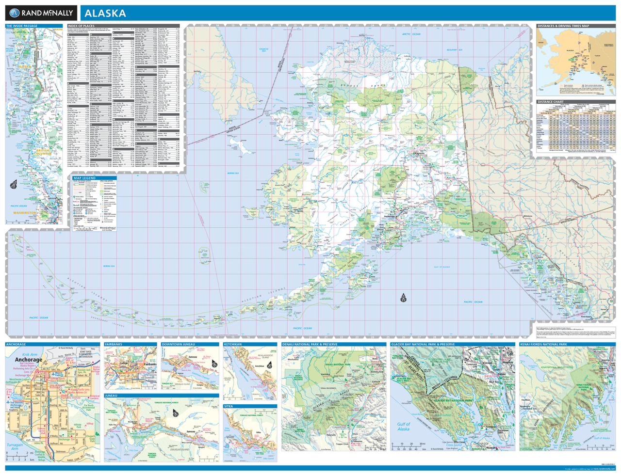 Rand McNally Alaska State Wall Map - Alaska state map