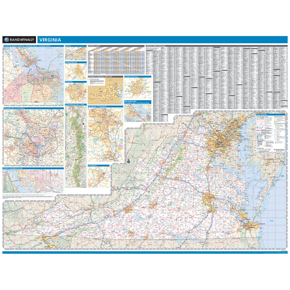 Rand McNally Virginia State Wall Map - State of va map