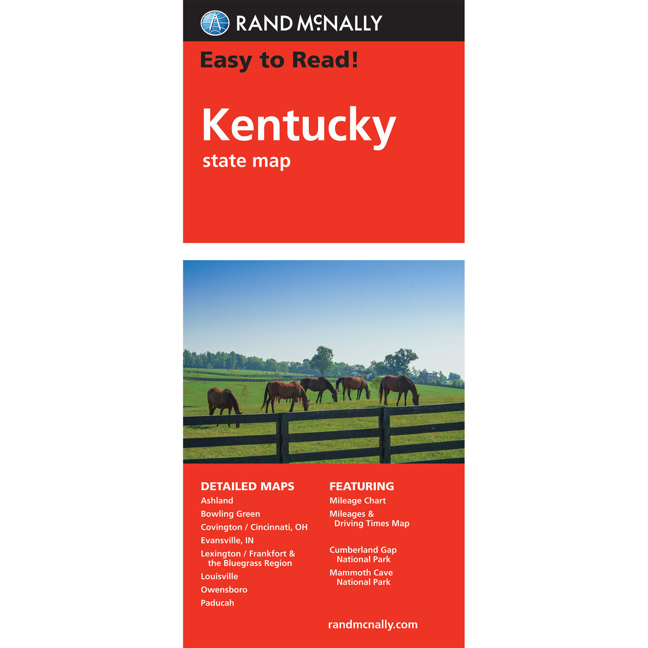 Rand McNally Easy To Read State Folded Map Kentucky - Ky state map