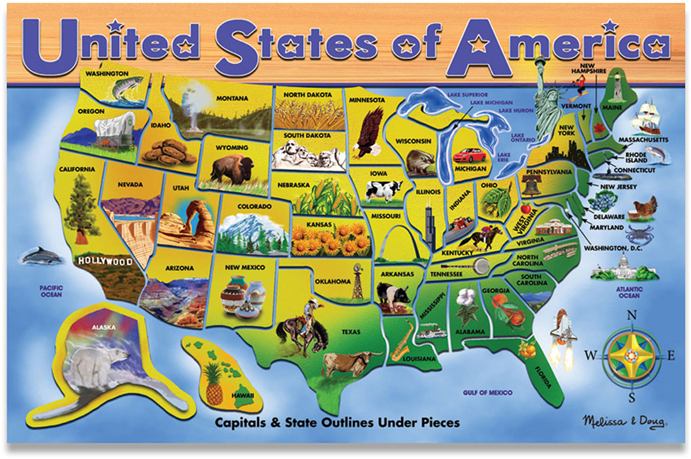 United States Map Puzzle Capitals: Us Map Puzzle Owl And Mouse At Usa Maps