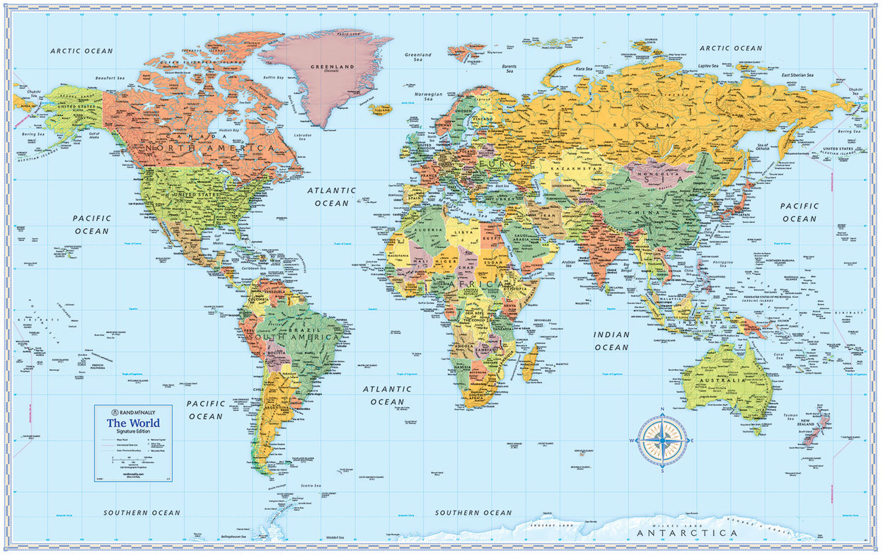 Signature Edition World Wall Maps Rand McNally Store - Wall maps of the world
