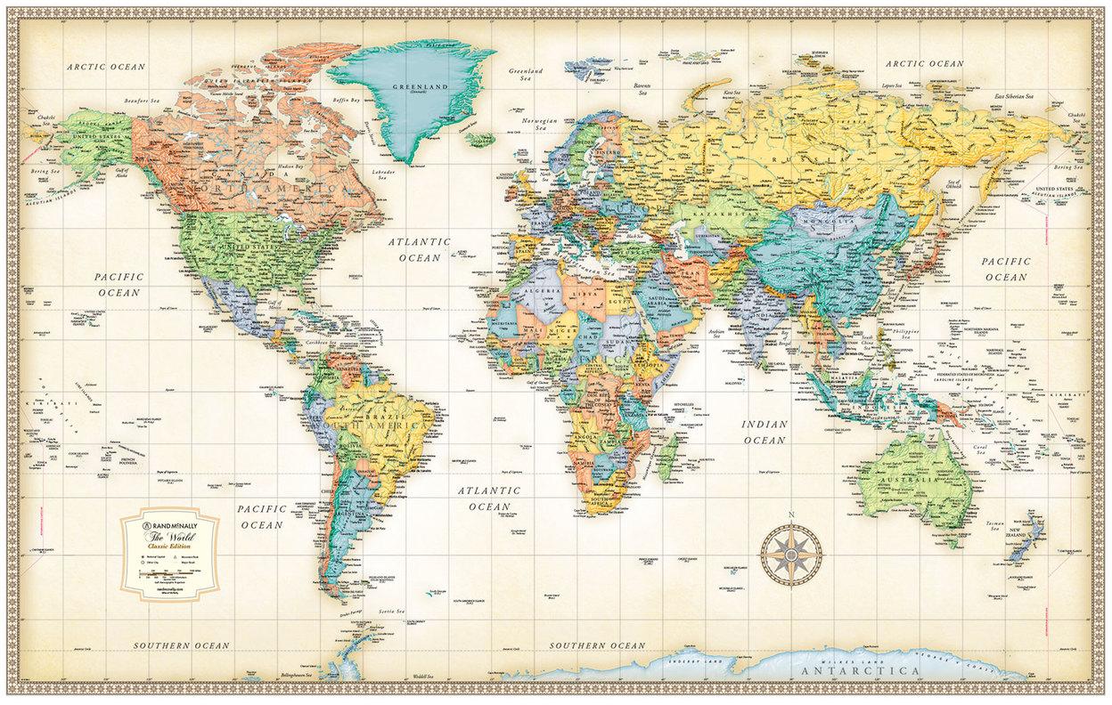 Classic Edition World Wall Maps Rand McNally Store - Rand mcnally us map