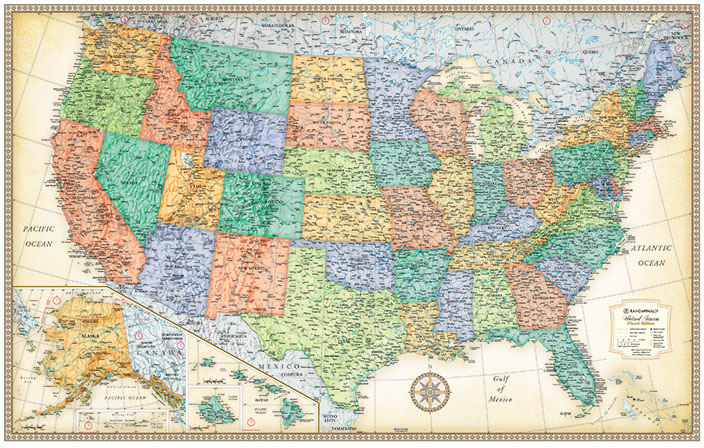 Rand Mcnally Road Map Usa: Wall Map Us Roads At Usa Maps
