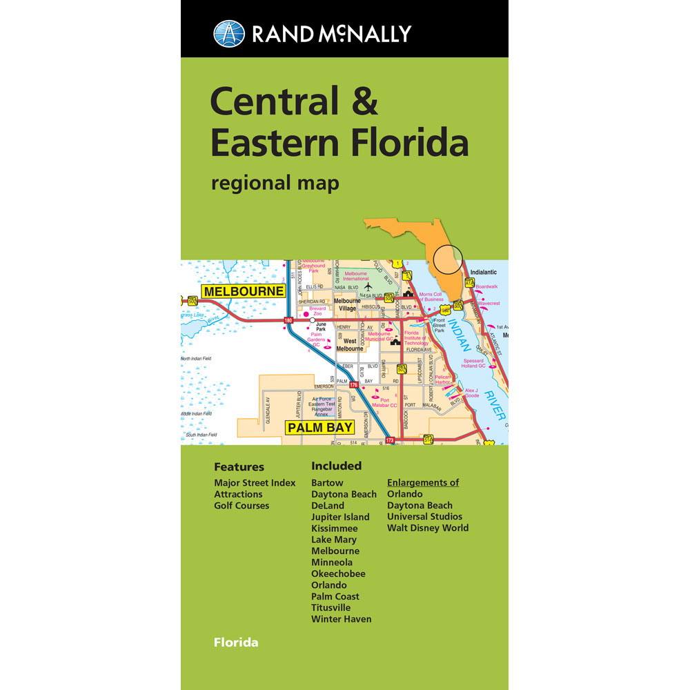 Folded Maps Central Eastern Florida - Map of eastern florida