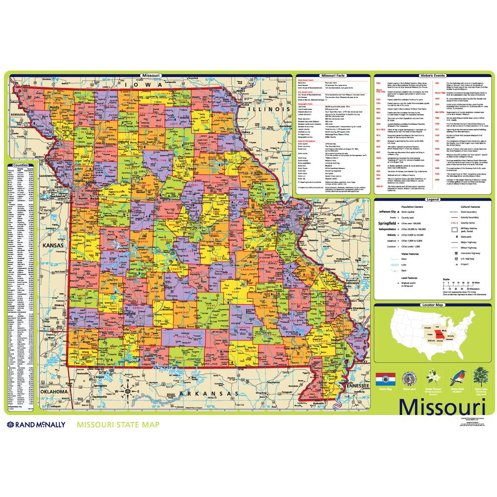 Missouri Political State Wall Map Rand McNally Store - State of missouri map