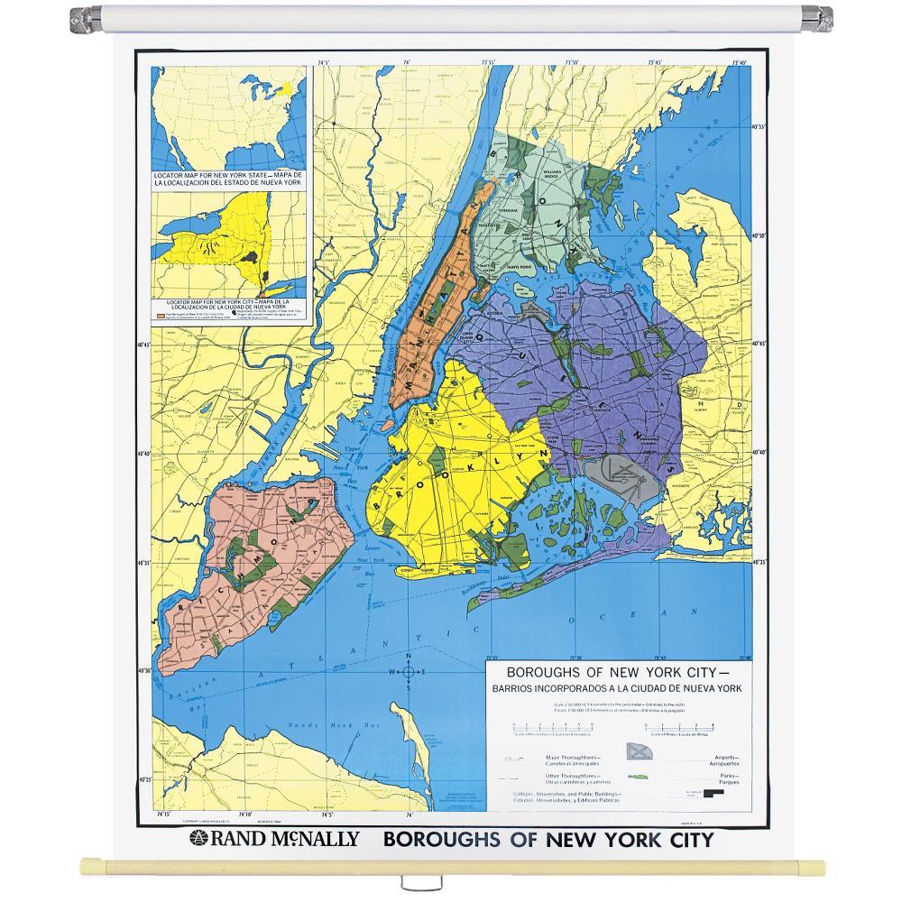 New York City Boroughs Wall Map Rand McNally Store - Map of ny city