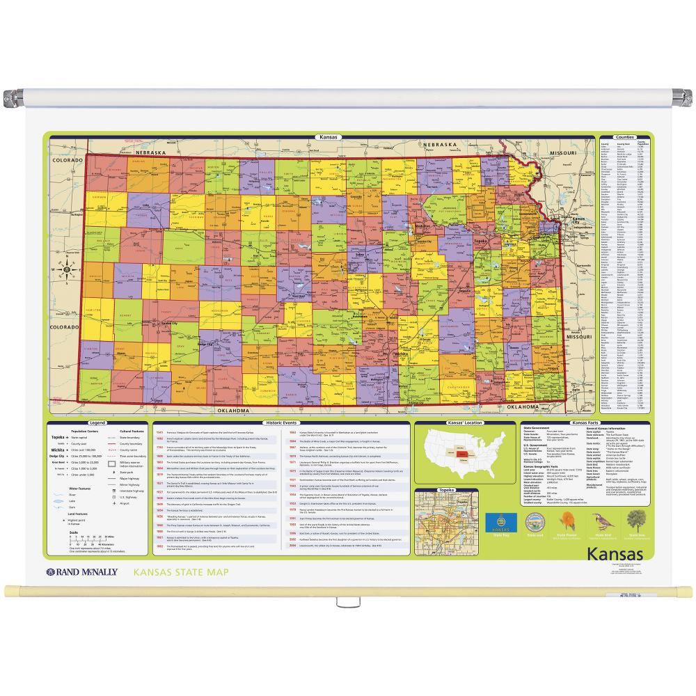 Kansas Political State Wall Map Rand McNally Store - Kansas state map