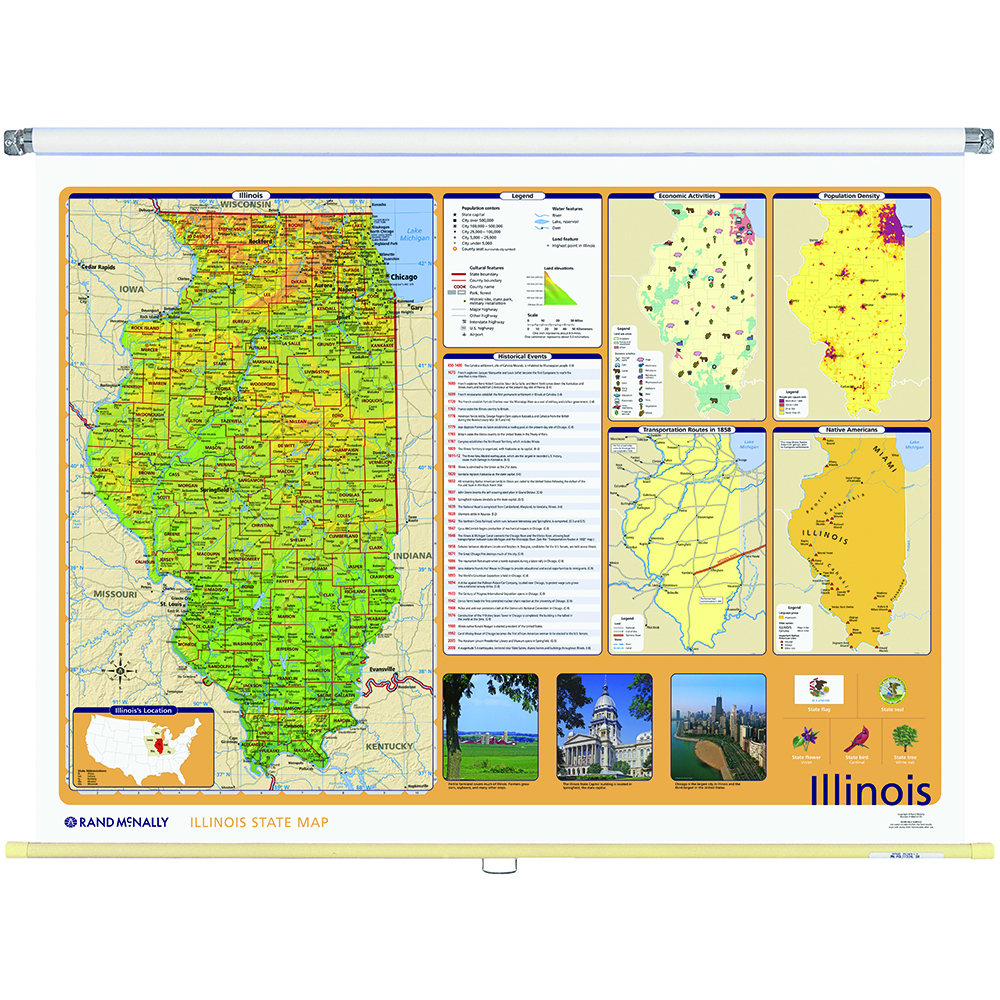 Illinois PhysicalPolitical State Wall Map Rand McNally Store - Map of the state of illinois