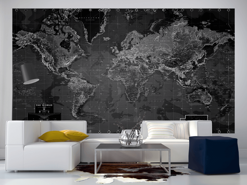 Black And White World Map Wall Mural ... Part 61