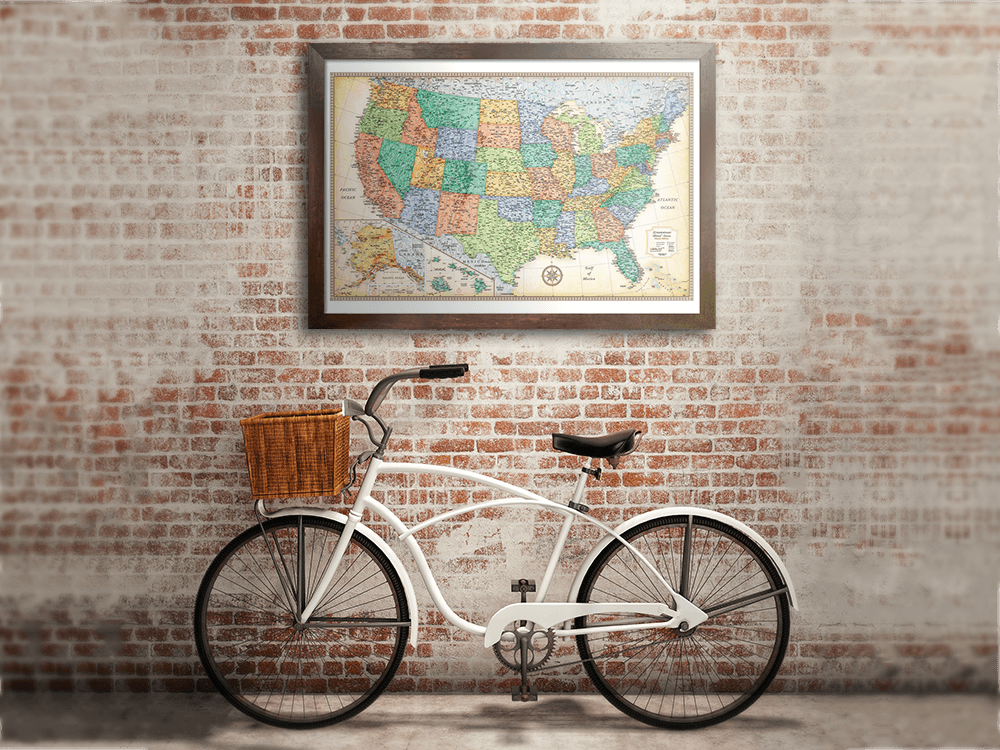 Classic Edition US Framed Wall Map Rand McNally Store - Us map framed