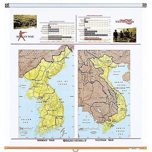 Korean And Vietnam Wars Wall Map Rand McNally Store - Korean map