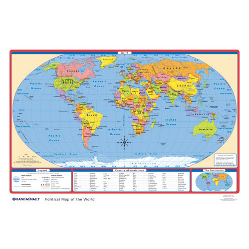 Political USWorld Desk Map Rand McNally Store - Us in world map