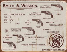 Metal - Tin Sign SMITH & WESSON REVOLVERS Garage Man Cave Sign