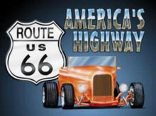 Metal - Tin Sign ROUTE 66 - ROADSTER Man Cave Garage Sign