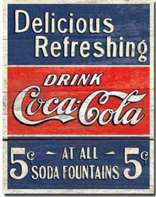 Metal - Tin Sign COKE Delicious Coca Cola 5 Cents Garage Man Cave Bar Sign