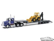 KENWORTH W900 Construction LowBoy Semi Hauler w/Backhoe Diecast 1:43 Scale Newray 15303A