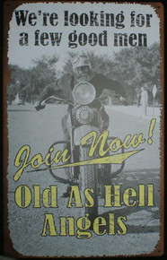 Metal - Tin Sign - OLD AS HELL ANGELS Motorcycle Garage Sign