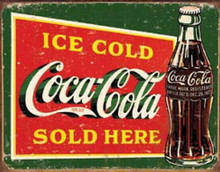 Metal - Tin Sign Ice Cold Coca Cola Sold Here (Green) Garage Man Cave Bar Sign
