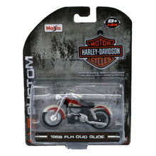 HARLEY DAVIDSON 1958 FLH Duo Glide Maisto 1:24 Scale Red & White FREE SHIPPING