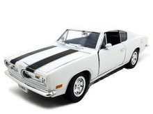 1969 Plymouth Barracuda ROAD SIGNATURE Diecast 1:18 Scale White w/Black Stripe