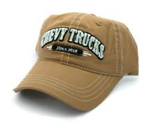 Hat - Chevy Trucks Since 1918 Distressed Ball Cap Khaki Chevrolet