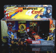 Johnny Lightning MARVEL 4 Car Set Spiderman / X-men / Wolverine Diecast 1:64