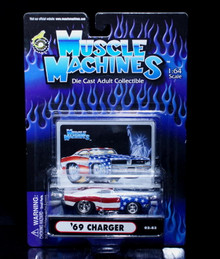 1969 Dodge Charger MUSCLE MACHINES Diecast 1:64 Scale American Flag
