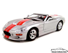 Shelby Series 1 New Ray City Cruiser Diecast 1:32 Scale Silver Red Stripes