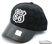 HAT - Route 66 Faux Leather Bill 3-D Embroidered Ball Cap Black FREE SHIPPING