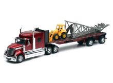 INTERNATIONAL LONESTAR Flatbed w/ Backhoe Loader & Windmill NEWRAY Diecast 1:32