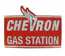 Metal - 3-D Embossed Sign CHEVRON GAS STATION Garage Sign