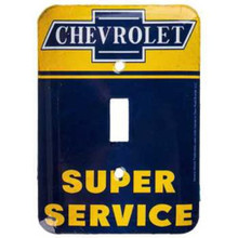 CHEVROLET SUPER SERVICE Metal LIGHT SWITCH COVER / PLATE Garage Man Cave