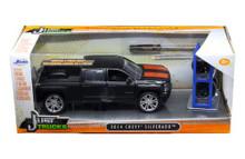 2014 Chevy Silverado Pickup w/ Extra Wheels JADA JUST TRUCKS Diecast 1:24 Scale Matte Black 97690