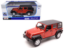 2015 Jeep Wrangler Unlimted MAISTO Diecast 1:18 Scale Orange FREE SHIPPING